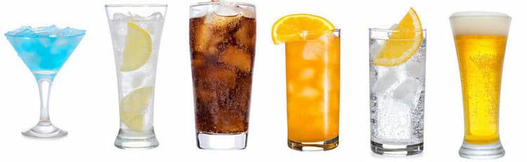 Bebidas en la dieta del plato
